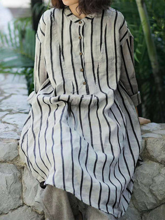 Women Long Sleeve Stripe Buttons Stand Collar Casual Shirt Dress