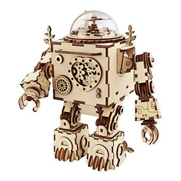 DIY Model 3D Puzzle Music Box Wooden Craft Kit Robot Machinarium Toys with Light Best Handmade Gift