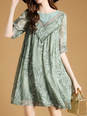 Women Casual Printed O-Neck Dresses Short Sleeve Loose Hem Dress