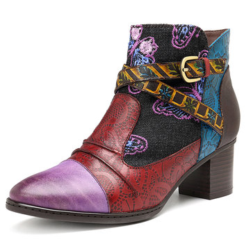 SOCOFY Retro Splicing Pattern Genuine Leather Zipper Ankle Boots