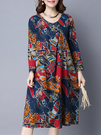 Retro Women O-Neck Floral Printed Long Sleeve Knee-Length Dress