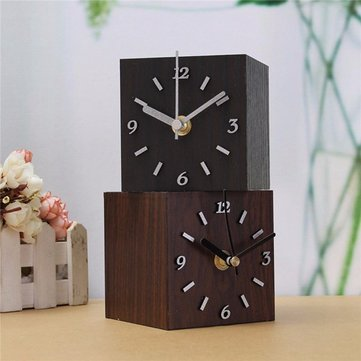 Vintage Wooden Cube Clock Retro Desktop Clock For Gift Home Decor Creative
