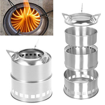 IPRee® Portable Mini Camping Cooking Stove Stainless Steel Wood Burner Furnace Cooker