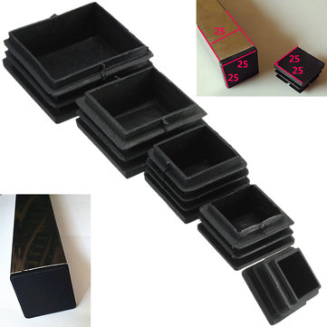 10pcs Plastic Black Blanking End Caps Square Inserts For Tube Pipe Box Section