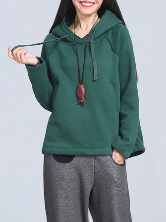 Casual Solid Long Sleeve Loose Pockets Women Hoodies