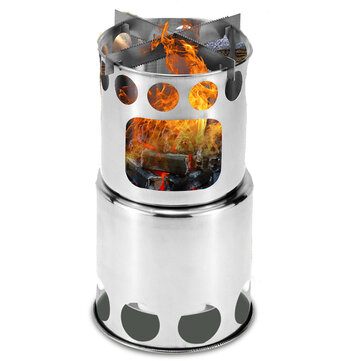 Outdoor Camping Picnic Cooking Stove Stainless Steel BBQ Firewood Furnace Cooker