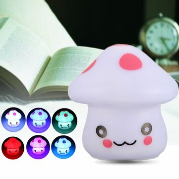 Romantic Cute Auto Colorful LED Night Light Mushroom Dream Home Bed Room Lamp