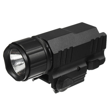 200Lumens Portable Aluminum Black Outdoor Tactical LED Flashlight Fits Weaver Picatinny Rails