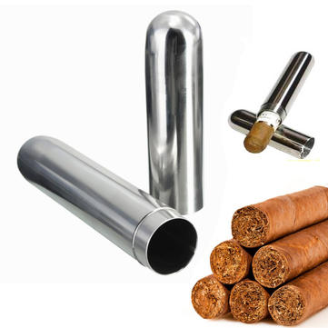 Stainless Steel Cigar Tube Moisture Storage Tube Cigarettes Case Box