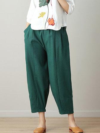 Casual Loose High Elastic Waist Pure Color Pants
