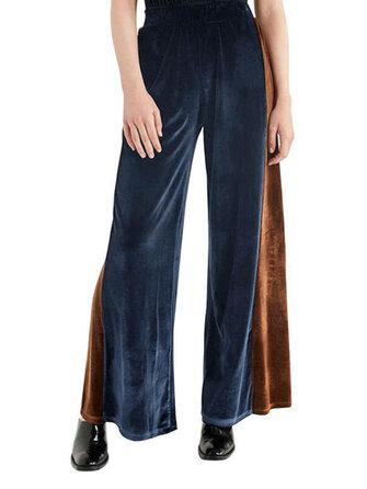 Casual Women Gold Velvet Color Splicing Wide Leg Pants