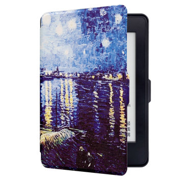 ABS Plastic Starry Night Painted Smart Sleep Protective Cover Case For Kindle Paperwhite 1/2/3 eBook Reader