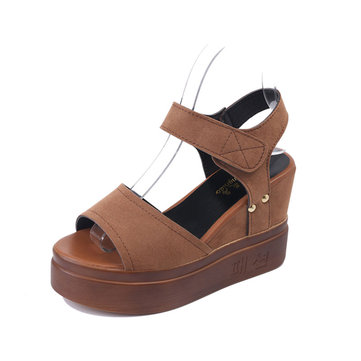 S682 Women's Sandals Slope Heels Waterproof High Heels Thick Bottom Casual