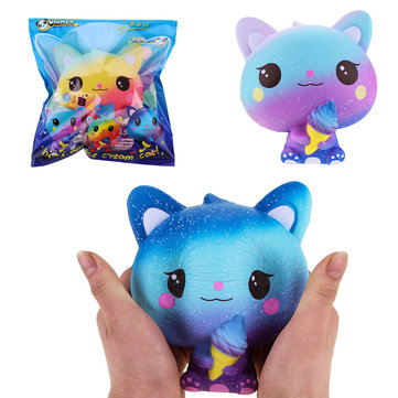 Vlampo Squishy Jumbo Kitten Holding Ice Cream 15CM Licensed Slow Rising With Packaging Collection Gift Toy
