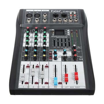 Faine CT-40S-USB-BL 4 Channel Bluetooth DJ Mic Mixer LCD Display MP3 AUX USB Stereo Club Stage KTV Karaoke