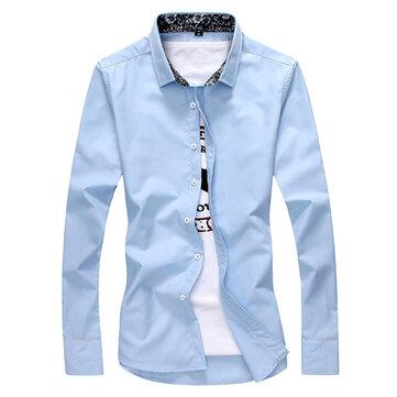Mens moda imprimir costura ocasional camisa do negócio slim fit de manga longa Outono