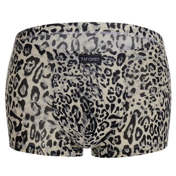 Mens Sexy Leopard Underpants Ice Silk Underwear Thin Summer Breathable Mid-Rise Boxer