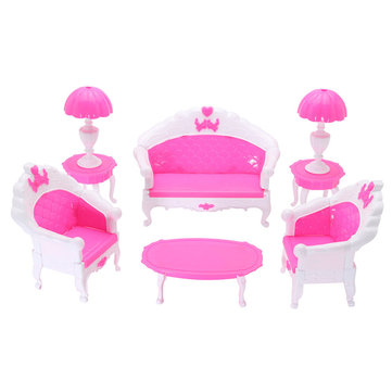 Doll House Furniture Set Miniature Plastic Family Child Play Living Room Toy