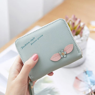 Women Faux Leather Flower Pattern Zipper Wallet Card Holder