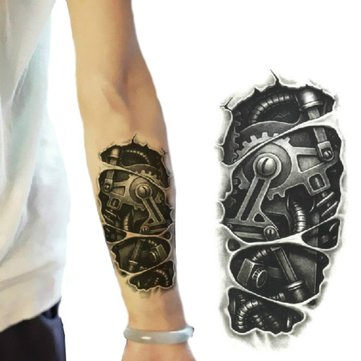 3D Machine Pattern Arm Waterproof Temporary Transfer Tattoo Stickers