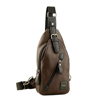 Men PU Chest Bag Shoulder Backpack Outdoor Crossbody Bags Retro Walking Hiking Cycling Sling Pack