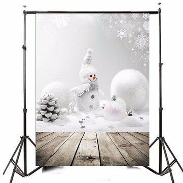 3x5ft Christmas Theme Christmas Snowman Wooden Photography Vinyl Background