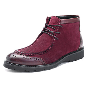 Men Casual Business Suede Genuine Leather Brogue Style Lace Up Boots