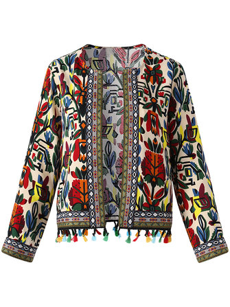Vintage Women Floral Tassel Long Sleeve Open Front Cardigan