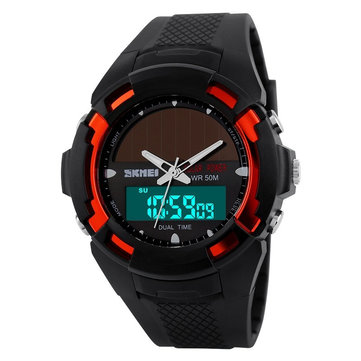 SKMEI 1056 Analog Digital LED Waterproof Rubber Band Solar Power Sport Watch
