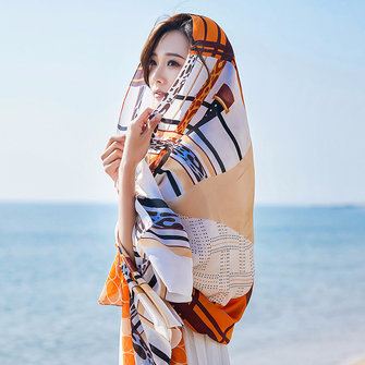 Women Summer Satin Sunscreen Beach Shawl Scarves Long Oversized Printing Scarf