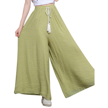 O-NEWE Loose Women Solid Elastic Waist Drawstring Wide Leg Pants