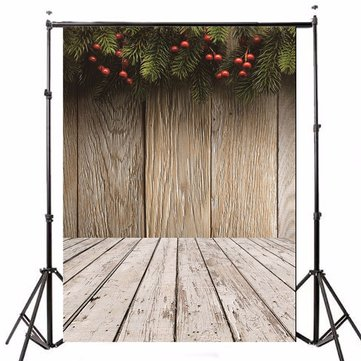 5x7FT Photography Background Studio Christmas Mistletoe Theme Bokeh Wood Crutch Leaves Backdrop