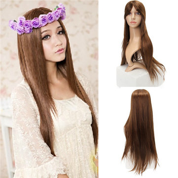 Long Straight Heat Resisitant Fiber Synthetic Wig Cosplay Wigs Full Hair Women Party 4 Colors