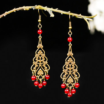 Bohemian Hallow Tassels Earrings Alloy Long-Style Ear Drop Earring For Women