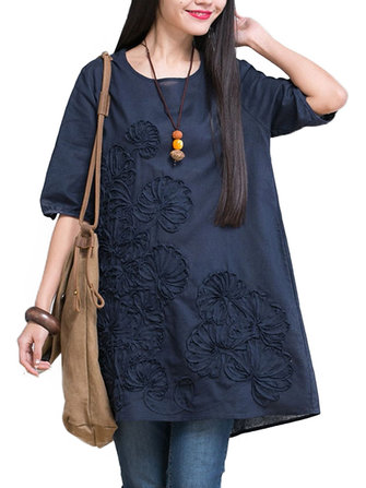 Casual Loose Embroidery Linen Women Mini Dress