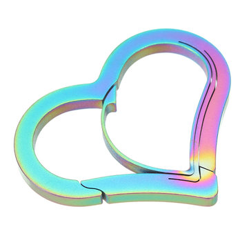 Heart Shape 3 CR 13 Steel Anti Theft Carabiner Keychain Hook Clip Buckle EDC Tool