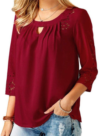 Casual Women Solid Color Crew Neck 3/4 Sleeve Hollow Blouse