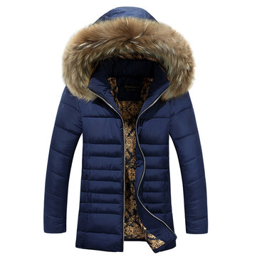 Mens Thick Warm Windproof Fur casaco com capuz acolchoado Parkas
