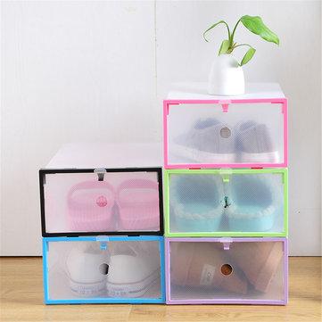 Original Cajas de zapatos de plástico transparente plegable Almacenamiento Organizador Apilables Tidy Pantalla Cestas de cajas