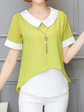 Women Casual Fake Two Pieces Lapel Blouses Short Sleeve Top