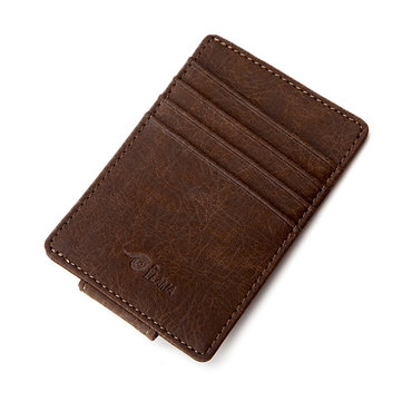Men Magnet PU Small Money Clip Coffee Grey Short Card Holder