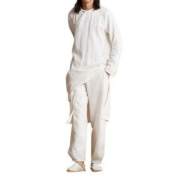 ChArmkpR Vintage Loose Loungewear Chinese Hanfu Zen Suit Meditation Dress Robe for Men
