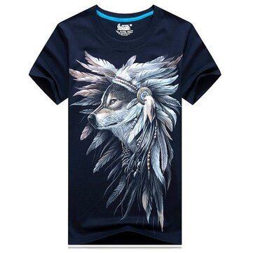 Mens 3D Animal Printed Feather Wolf Loose Fashion Casual Short Sleeves T-shirt Tees Tops