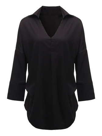 Casual Sexy Women Black Pleats Chiffon V Neck Blouse