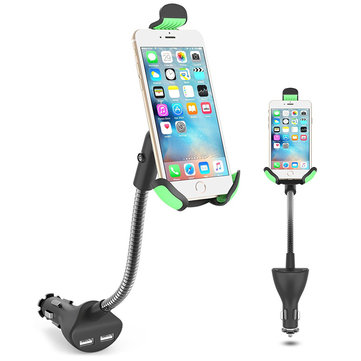 2-in-1 Car USB Charger Phone Stand Mount Holder With Cigarette Lighter For 3.5 - 6.3 Inches Phone
