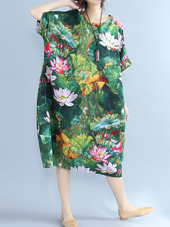 Lotus Printed Loose O-neck Half Sleeve Women Dresses