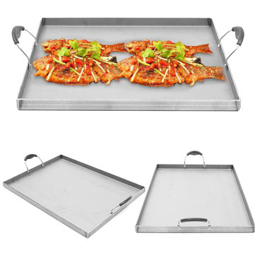 Stainless Steel Griddle Flat Top Cooking BBQ Grill Heat Distribution Stoves