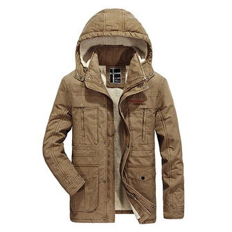 Mens Thick Warm Winter Hooded Jacket Outdoor Casual Solid Color Coat