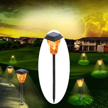 Original 3W Solar Powered 12 LED Flame Lawn Light al aire libre Impermeable Antorcha de camino de jardín IP65 Lámpara