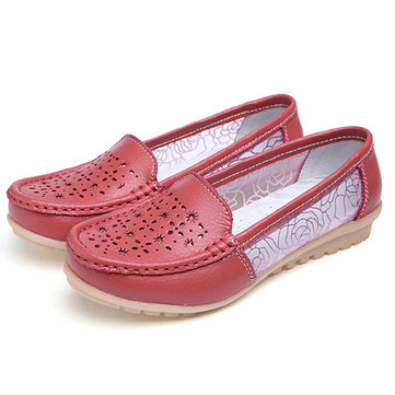 Women Hollow Out Slip On Casual Flat Shoes In Leather